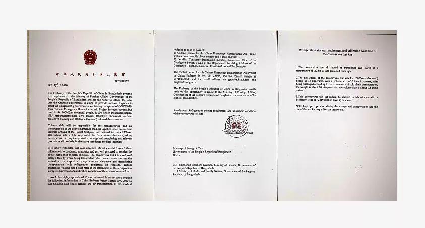 করোনা মোকাবেলায় বাংলাদেশকে চিকিৎসা সামগ্রী দিচ্ছে চীন